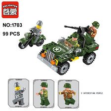 Enlighten 1703 Military Army Motorcycle Car Building Block Toys