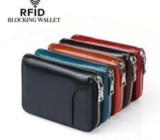 100%Mini Genuine Leather  Zipper Wallet RFID Blocking Card Holder Money Holder