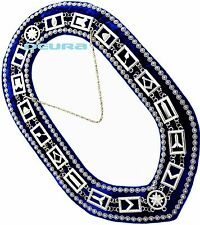 Masonic Regalia MASTER MASON DELUXE SILVER Chain BLUE COLLAR DMR-400SBRS