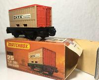 Matchbox Eisenbahn Railway Train Zug Nr.25 flat car & container Anhänger OVP