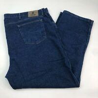 Wrangler Denim Jeans Mens 50X30 Blue Straight Leg Regular Fit Cotton Blend Wash