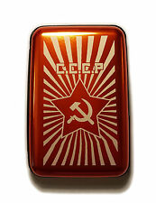 CCCP Russian Hammer and Sickle Orange Aluminum Hard Credit Card Wallet