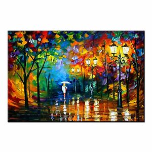 FRAMED Abstract Oil Painting CANVAS PRINT Single Woman in Rain Wall Art Decor