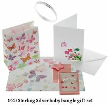 baby girl solid genuine 925 sterling silver expanding baby bangle free gift set