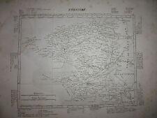 Gravure 19e Cartes France Départements & colonies géographie National Finistère