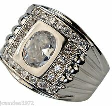 Championship style 5.8 carat cz men's ring 18k white gold Overlay size 11