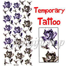 1 Sheet Temporary Tattoo Removable Blue Black Rose F1