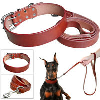 Brown Luxury Leather Dog Collars and Leads Leash set Soft for Small Large Dogs