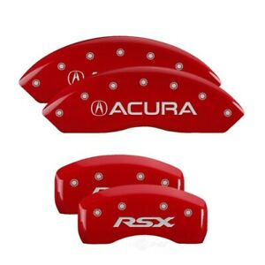 MGP 4 Caliper Covers Engraved Front for Acura Engraved Rear RSX Red finish silve