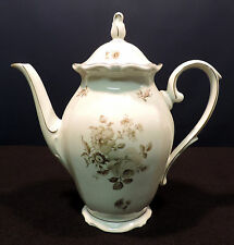 1930's Oscar Schaller Bavaria 10in coffee pot pale pink gray flowers gold trim
