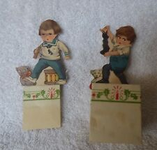 2 Antique 1921 Christmas Xmas Candy Fold Out Containers Int'l Art Pub Co Die Cut