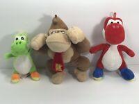 Lot Of 3 Super Mario Nintendo Characters Mario Yoshi donkey Kong plush