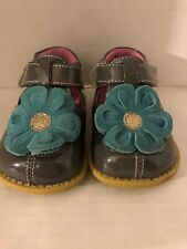 Livie & Luca Girls Shoes Blossoms Gray Aqua Flower Blooms Size 4, Pre-owned