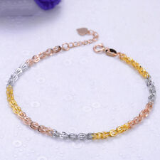 New Solid 18K Multi-Tone Gold Bracelet Feather Link bracelet 19cm Length