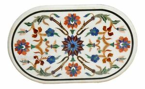 24 x 48 Inches Marble Hallway Table Pietra Dura Art Dining Table Top for Home