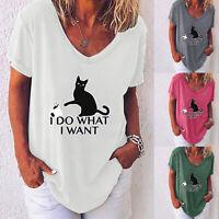 Womens Cat Print Short Sleeve V Neck Loose Blouse Summer Casual Tops T Shirt Tee