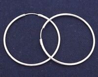 2mm X 50mm All Shiny Large Plain Endless Hoop Earrings Sterling Silver 925