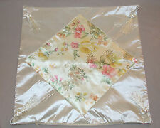 "NEW DECORATIVE ORIENTAL SILK FLOWER DESIGN THROW PILLOW COVER CREAM 17"" X 17"""