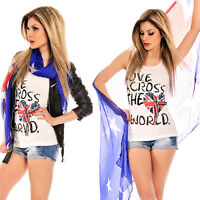 "T-SHIRT TOP HAUT SEXY FEMME FASHION BLANC ""LOVE ACROSS THE WORLD"" T.M/L 38/40"