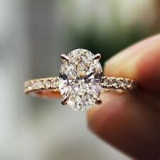 & Round Cut White Stone Pretty Engagement Ring 14 Kt Rose Gold Over 1.50 Ct Oval