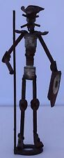 Mexican Street Folk Art Bolt Nuts Screws Man Shield Standing Statue Quixote