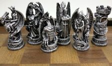 GOTHIC DRAGON FANTASY MEDIEVAL TIMES CHESS MEN SET Silver & Gold Color- NO BOARD