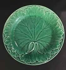 19th C. Antique Wedgwood Green Majolica Cabbage Leaf Plate.