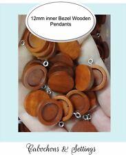 30pcs x 12mm PENDANT Bezel Antique Wooden Wood Cameo Base Cabochon Setting Tray