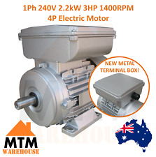 Single Phase Electric Motor 240V 2.2 kW 3 HP 1400rpm 4 Pole