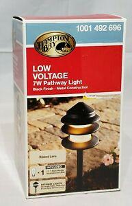 Hampton Bay 7W Pathway Light Low Voltage Ribbed Lens Metal NIB NEW Black Finish
