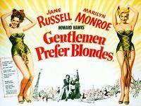 Vintage Gentlemen Prefer Blondes Marilyn Monroe Movie Poster A3/A2/A1 Print