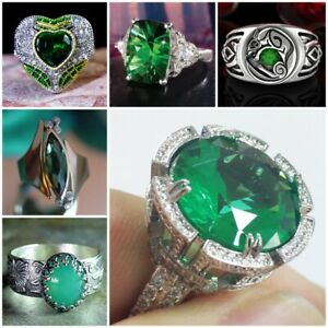 925 Silver Rings for Women Emerald Wedding Engagement Ring Jewelry Size 6-10