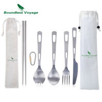 2-5 Piece/Set Titanium Tableware Camping Outdoor Cutlery Utensils for Home Use