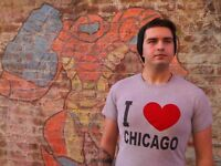 I HEART CHICAGO Gray Cotton Blend Size S T-Shirt