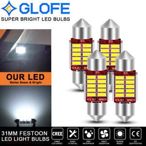 4X GLOFE White Canbus 31MM Festoon LED Map/Dome Interior Light Bulbs DE3175 3021