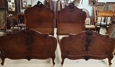 Pair of Antique French Louis XV Walnut Twin Beds C-Scroll Cartouche