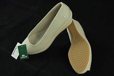 "BNIB Lacoste ""Calvante"" Ivory Textile Slip-on Medium Heels sz 9.5"