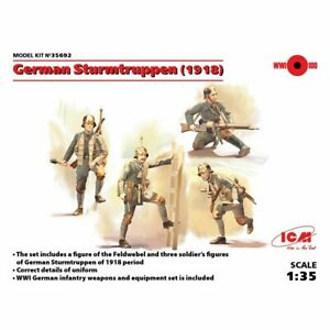 Icm Icm35692 German Sturmtruppen 1918 4 figures 1/35