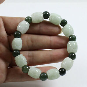 """Certified """"A"""" Natural Jadeite Carving Green Beads Hand catenary Bracelet j3294"""