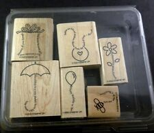 Stampin Up 2002 THE FINE PRINT Retired Set of 6 Stamps Never Used Words & Pics