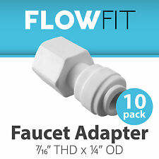 """Faucet Adapter 1/4"""" x 7/16"""" Fitting Connections Water Filters / RO Systems 10 Pk"""