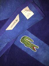 "LACOSTE Signature Crocodile Logo Bright Surf Blue Bath Towel 30"" x 52"" NEW!"