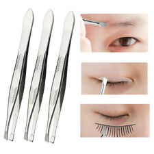 5Pcs Professional Stainless Steel  Eyebrow Hair Removal Tweezer Flat Tip Makeup