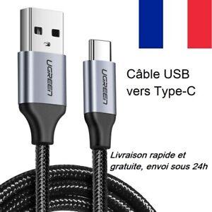Câble USB type C charge rapide + données - UGREEN - 25cm. 50cm. 1m. 1,5m. 2m. 3m