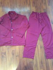 Mens Size Small Medium Puritan Pjs Set Pants Shirt Button Up Maroon