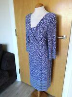Ladies PER UNA Dress Size 14 Blue Stretch Smart Casual Day
