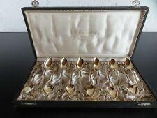 12 AUSTERNLÖFFEL 800 Silber Vergoldet um 1860
