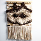 Mid Century Modern Tapestry Wall Hanging Abstract White Brown Tan Original Art