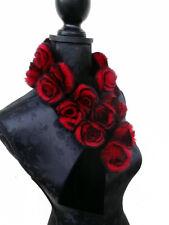 VERITABLE FOURRURE couture FORME ROSE rouge noir Echarpe col foulard velours