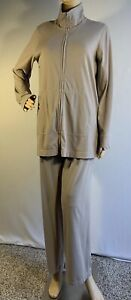 Eileen Fisher Beige/Tan Tracksuit Jacket & Pants Organic Cotton Size Medium M